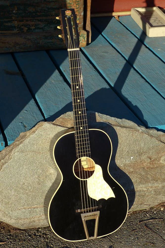 oscar schmidt made collegiate 0 size tailpiece guitar. Black Bedroom Furniture Sets. Home Design Ideas