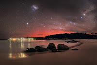 Aurora Australis, Southern Cross, Milky Way Galaxy and Large Magellanic Cloud Galaxy over Binalong Bay