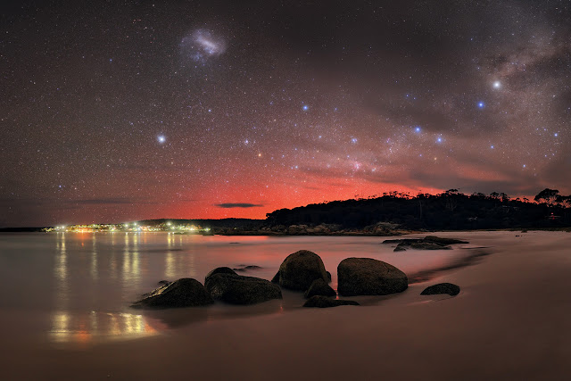 Aurora Australis, Southern Cross, Milky Way Galaxy and Large Magellanic Cloud Galaxy over Binalong Bay