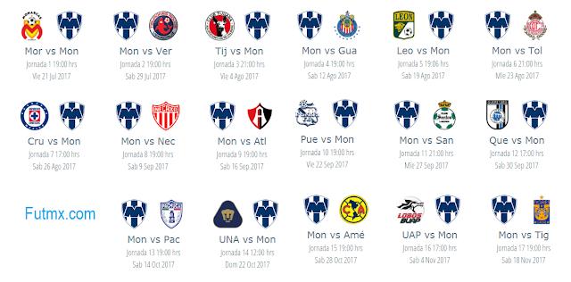 Calendario de Rayados para el apertura 2017 del futbol mexicano