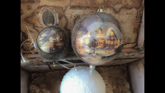 DIY Χριστουγεννιάτικες Μπάλες με decoupage
