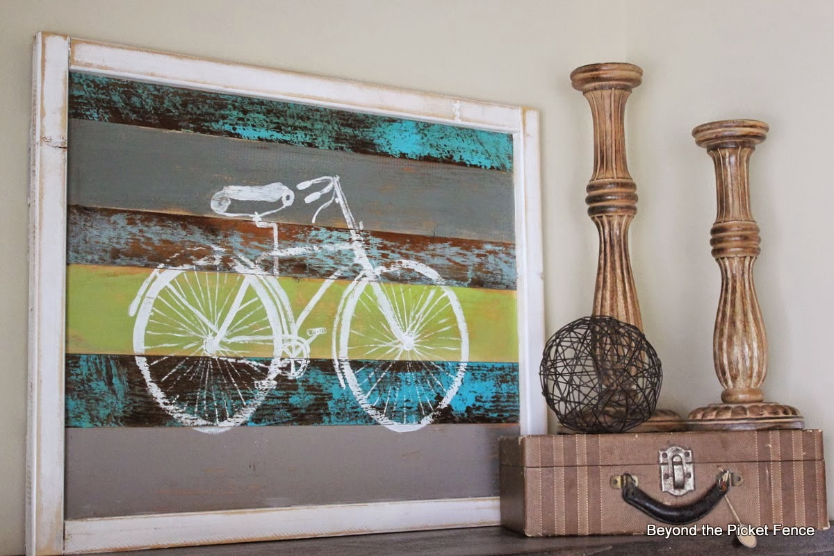 reclaimed wood sign, bike, art, paint, Graphics Fairy, spring art, Beyond The Picket Fence, http://bec4-beyondthepicketfence.blogspot.com/2015/02/spring-ideas-are-you-ready.html