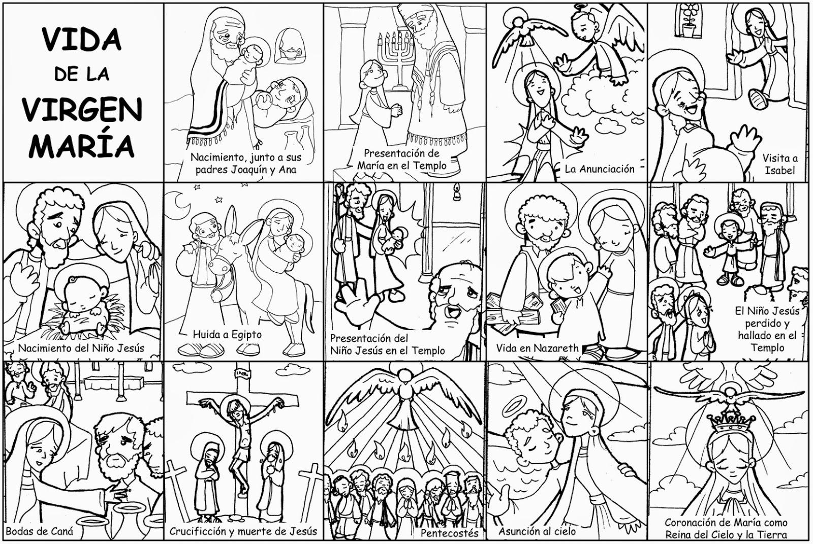 Puntadas Marianas Vida De La Virgen María Para Colorear