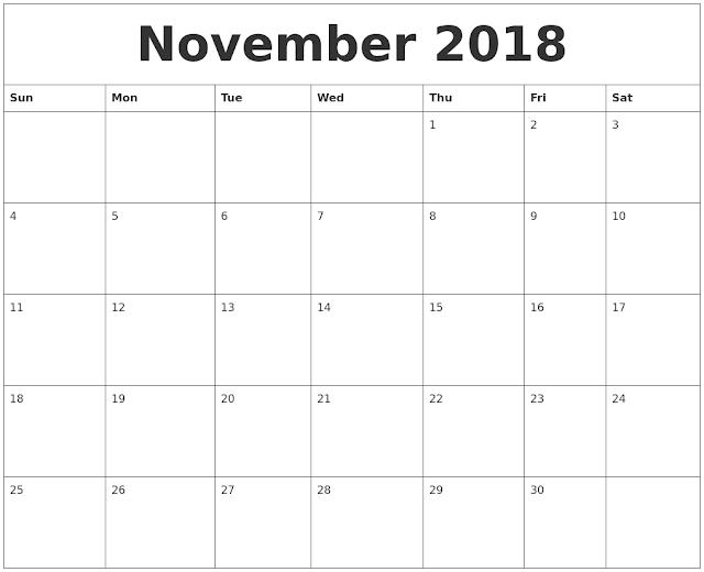 Editable November Calendar 2018