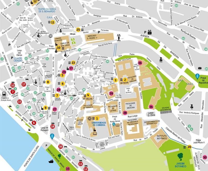 lisboa mapa pontos turisticos Mapa turístico de Coimbra | Dicas de Lisboa e Portugal lisboa mapa pontos turisticos