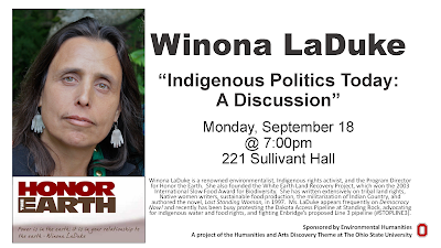 "September 18, 2017. ""Indigenous Politics Today: A Discussion"" by Winona LaDuke. Flyer"