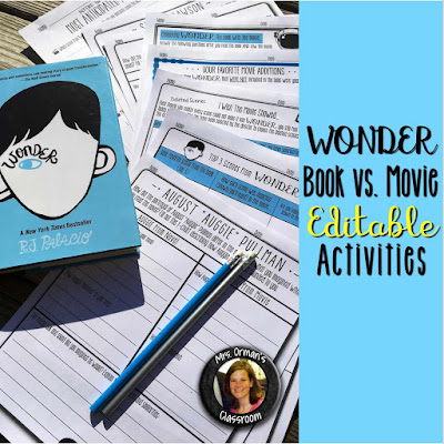 Wonder book and movie comparisons activities www.traceeorman.com