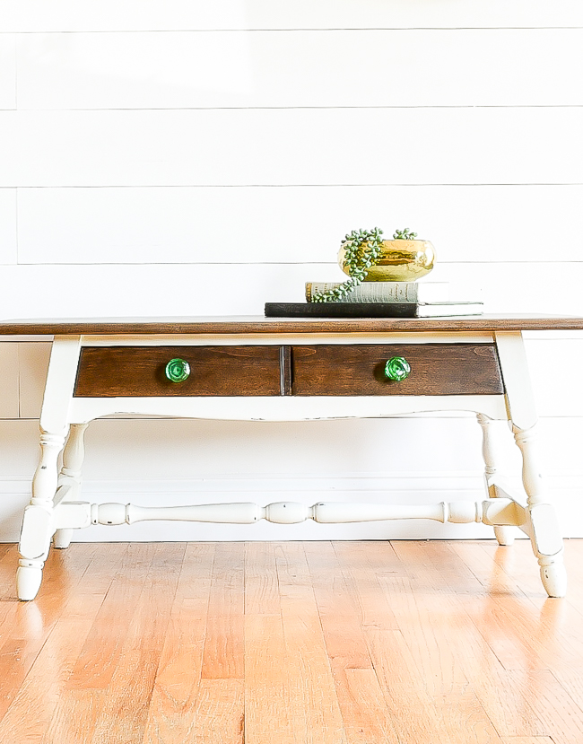 Two tone refinished coffee table makeover