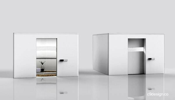 Proyecto de baño modular de forma cúbica