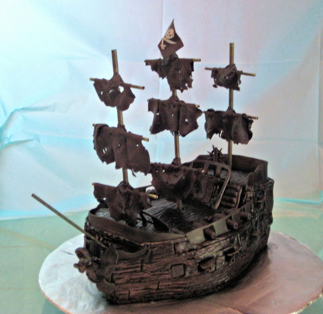 Pirate Ship Cake of The Black Pearl from Pirates of the Caribbean - Front Angle View 4