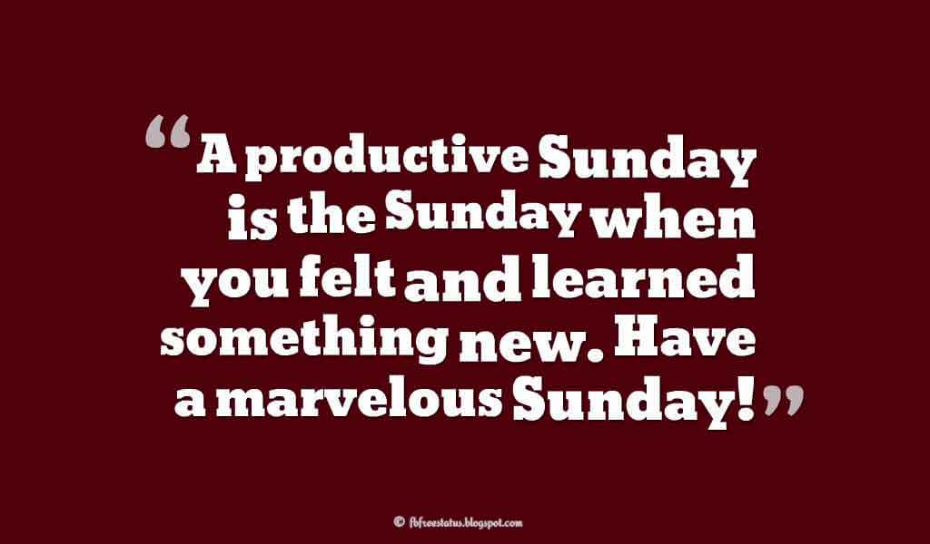 A productive Sunday is the Sunday when you felt and learned something new. Have a marvelous Sunday!, Happy Sunday Images