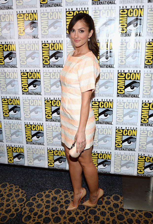 Minka Kelly in a striped mini-dress at the 'Almost Human' Press Line at Comic-Con 2013
