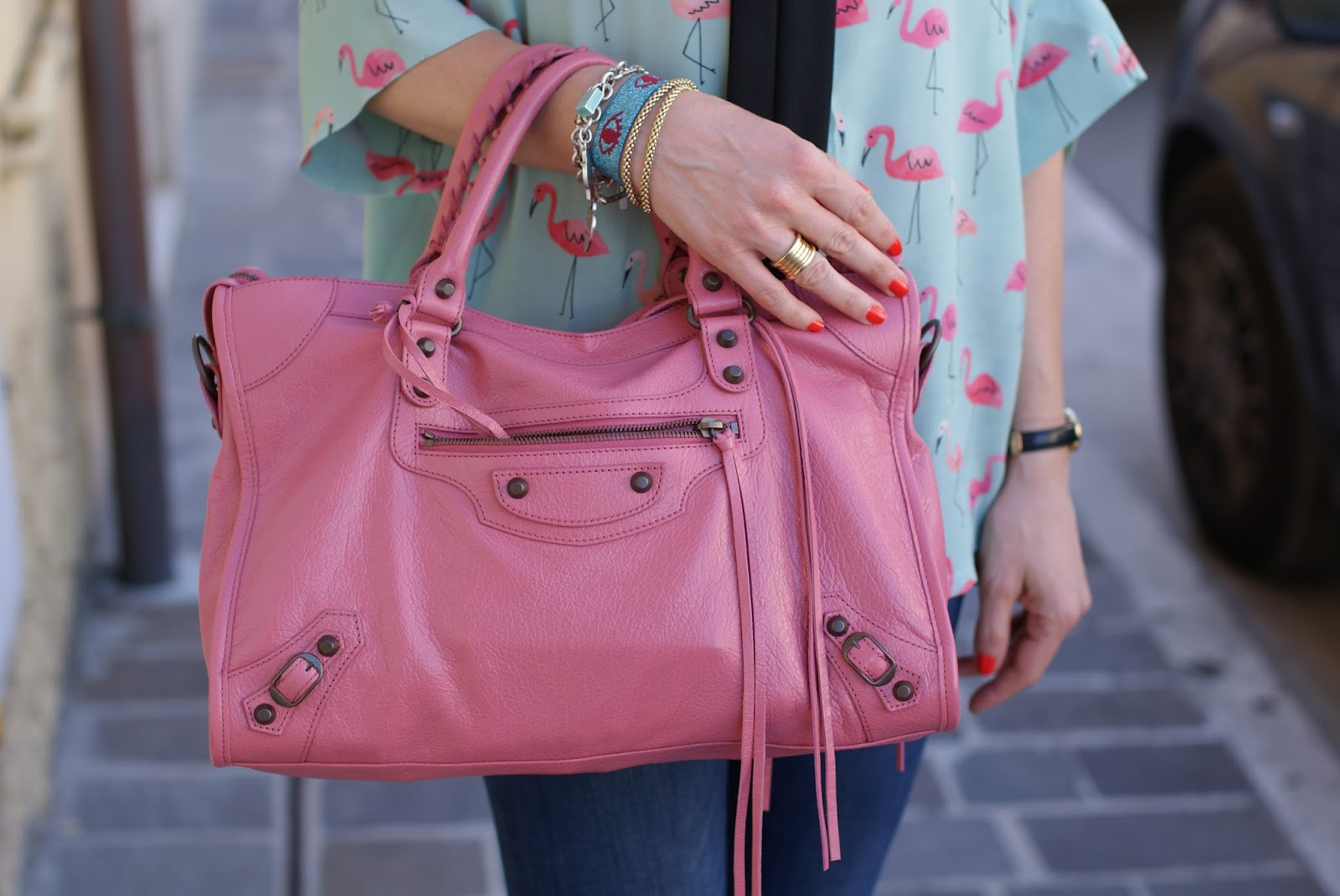 Balenciaga City bag in rose orthensia on Fashion and Cookies fashion blog, fashion blogger style