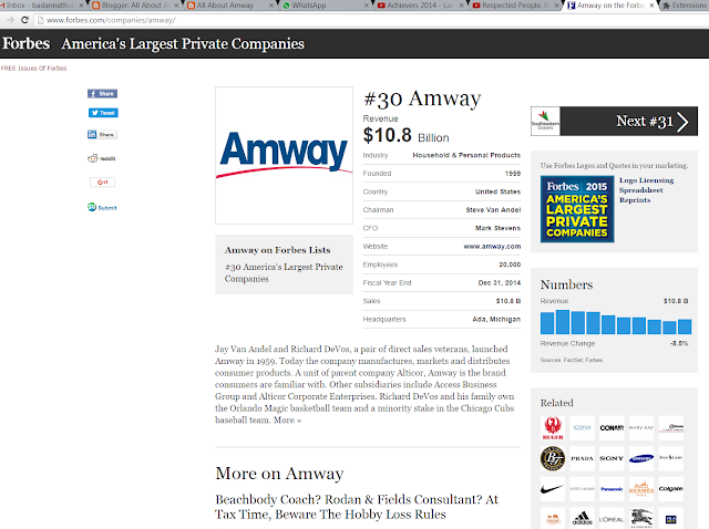 All About Amway: Amway on Forbes List