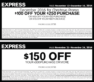 Express coupons for december 2016