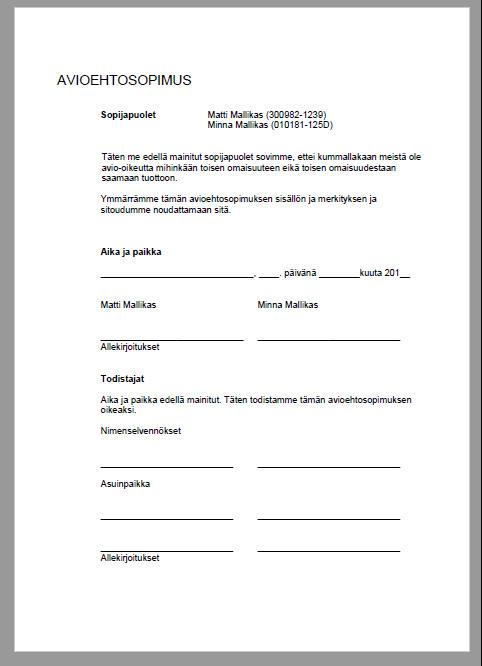 Avioehtosopimus Avioeron Varalta Malli