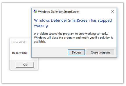 Windows Defender SmartScreen has stopped working imagen