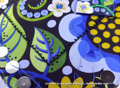 Bead Embroidery with Thread Painting: Another element shaded with blues. (Wild Child Japanese Bead Embroidery by Mary Alice Sinton)