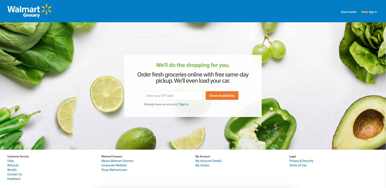 · Walmart is now testing a new service that allows customers to order their groceries online and pick them up at a self-serving kiosk.