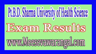 Pt.B.D. Sharma University of Health Science M.Phil Clinical Psychology Final Year Sept 2016 Exam Results