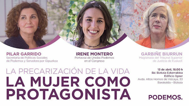 acto sobre la precarización femenina con Irene Montero