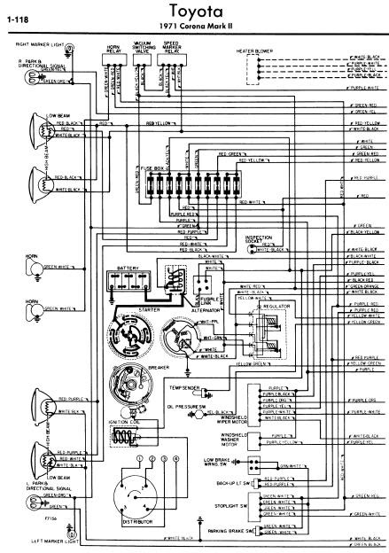 repairmanuals: Toyota Corona Mark II 1971 Wiring Diagrams