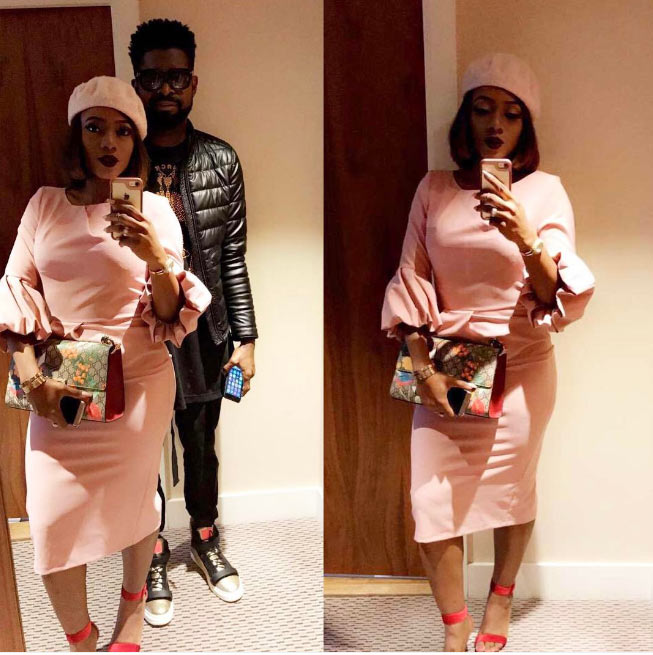 Basketmouth and wife show off their church outfits