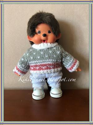 kiki monchhichi vêtement pull tricot handmade fait main poupée clothes doll
