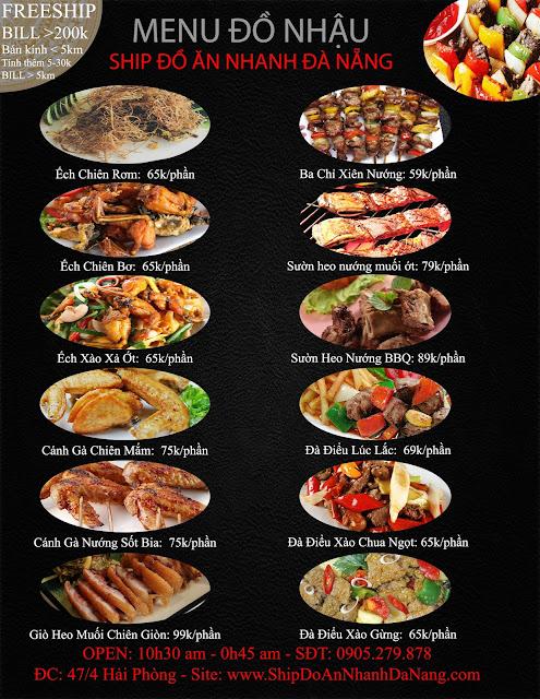 menu đồ ăn nhậu mới ship tận nhà tại đà nẵng