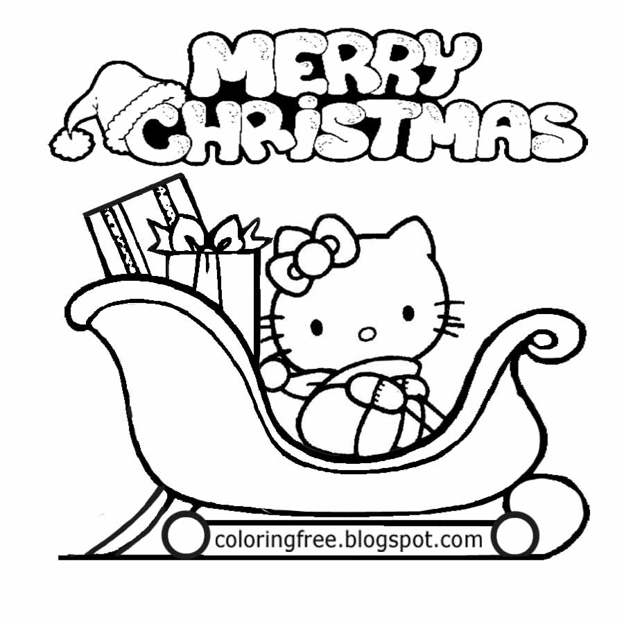 Girls Stuff To Draw Cute Cat Hello Kitty Pretty Christmas Printable Coloring Pictures Santa Sledge