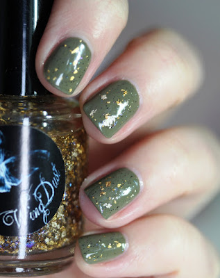 Wing Dust Creations Gilty Pleasure gold leaf nail polish topper over Chanel Khaki Vert
