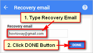 How to use a recovery email address For Gmail