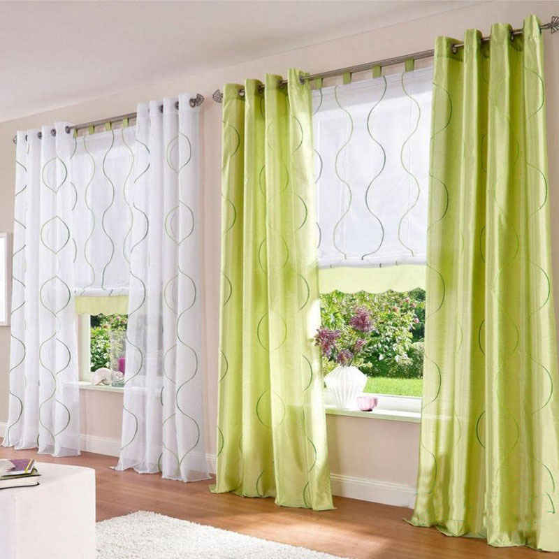 Green Curtain for Living Room Design Ideas - Modern House ...