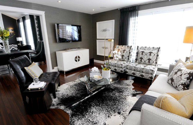 Charcoal gray white and gold the design seeker - Black and white and grey living room ...