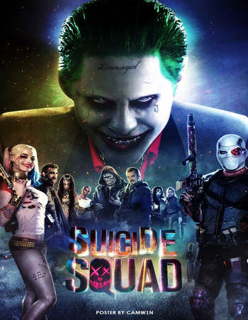 Poster Of Suicide Squad 2016 English 600MB EXTENDED BRRip 720p ESubs HEVC Free Download Watch Online Downloadhub.Net