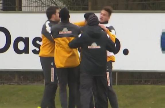 Werder Bremen player Sokratis Papastathopoulos throws a jab at teammate Marko Arnautović