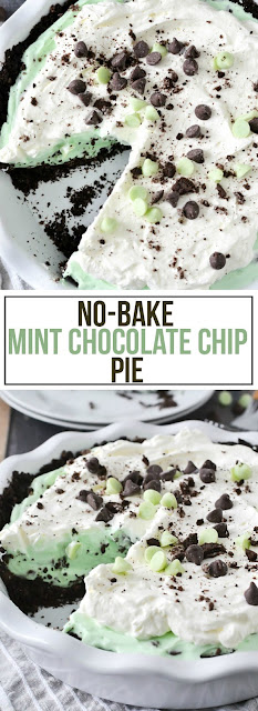 No-Bake Mint Chocolate Chip Pie