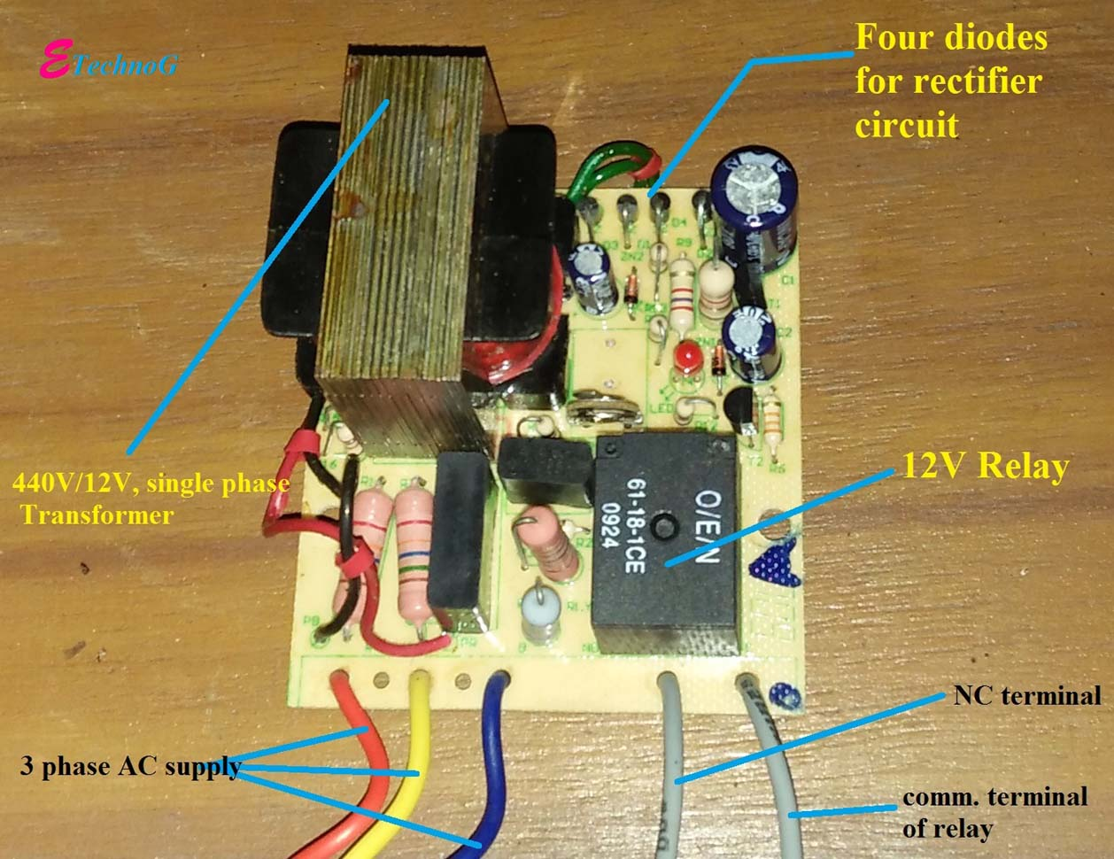 Working And Connection Diagram Of Single Phasing Preventer 12v Diode Relay Wiring
