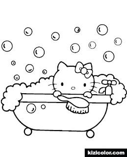 colorear hello kitty baño jabonoso