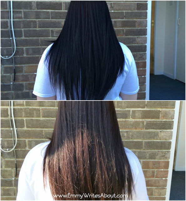 Before and After Colour B4 Extra on dark black hair