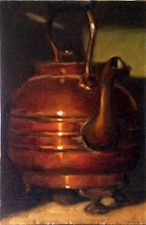 Oil painting of an antique copper kettle with a green background.