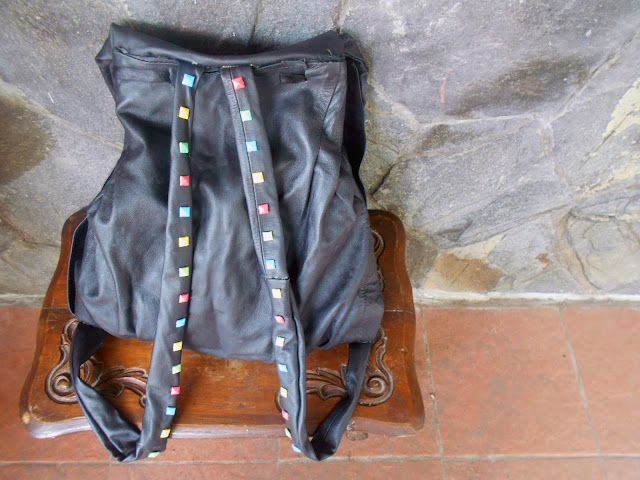 DIY Candy Color Studed Leather Backpack - the strap