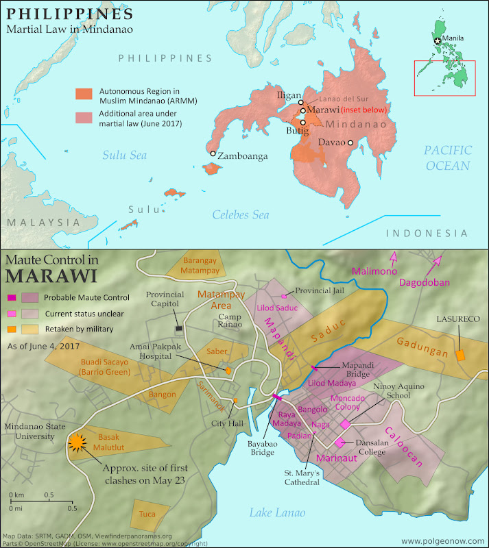 Map of so-called Islamic State (ISIS/ISIL) control in the Philippines, during the May-June 2017 crisis involving the Maute group and Abu Sayyaf takeover of Marawi Ciy, Lanao del Sur province, Mindanao. Updated to June 4, 2017, shows detailed control of Marawi by barangay. Includes map of area affected by martial law declared by President Rodrigo Duterte. Colorblind accessible.