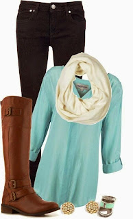 Comfy-fall-outfits-with-mint-shirt-and-long-boots