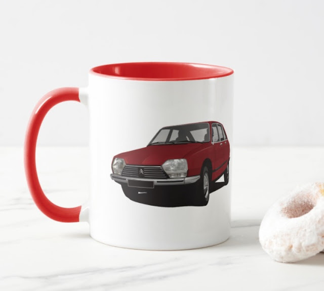 Two image car illlustration coffee mug - classic CItroën GS