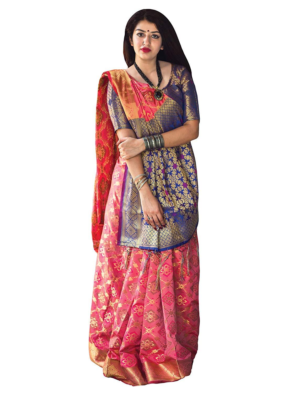 Applecreation Women'S Patola Silk Saree With Blouse Piece (5)