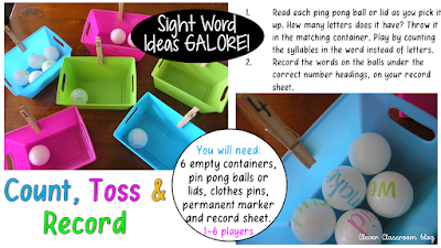 5 Sight Word Activities that are FUN: Count Toss and Record
