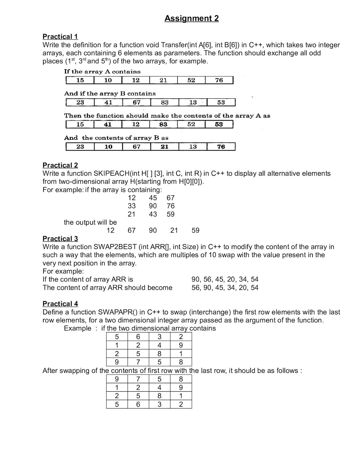 computer science computer science assignment to class  computer science assignment 1 to 4 class 12