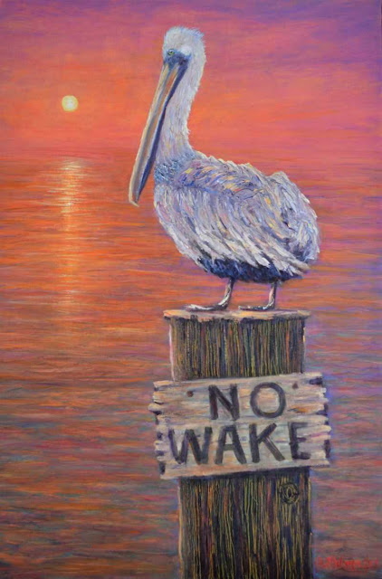 Pelican Painting with a Sunrise over the ocean