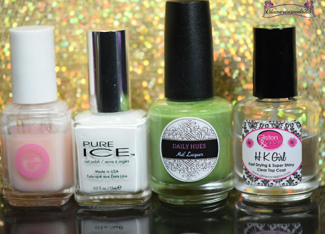 Essie Grow Stronger, Pure Ice Superstar!, Daily Hues Nail Lacquer Green Machine (LE), Glisten & Glow HK Girl Fast Drying Top Coat